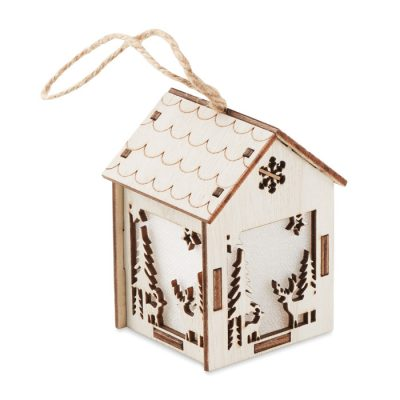 Hiša iz MDF z lučko v notranjosti, z božičnimi motivi