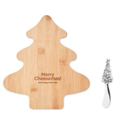 Deska za sir iz bambusa, v obliki drevesca z nožem za sir